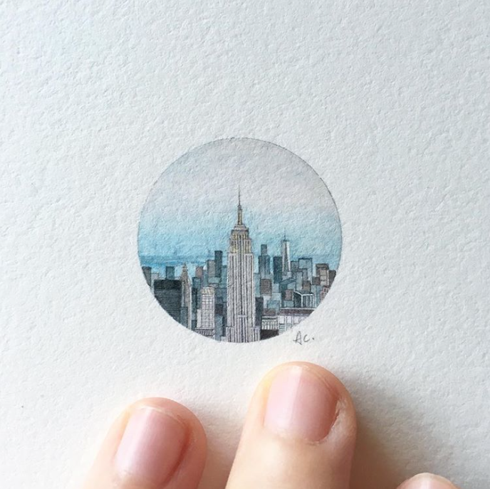 new york tiny painting, new york art, empire state building art, painting, miniature