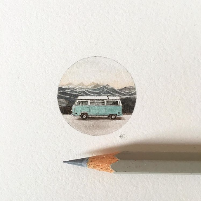 VW art, vintage painting, hippie van art, aqua, mountains