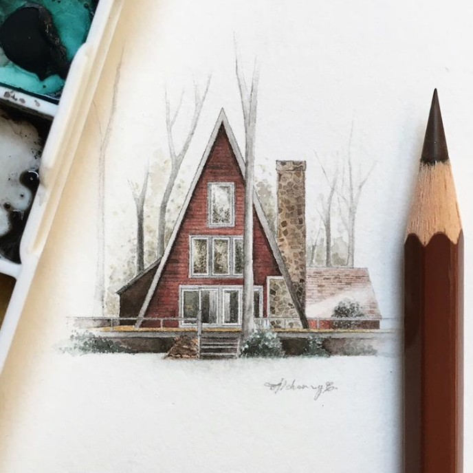 architecture painting, house, watercolor, tiny painting