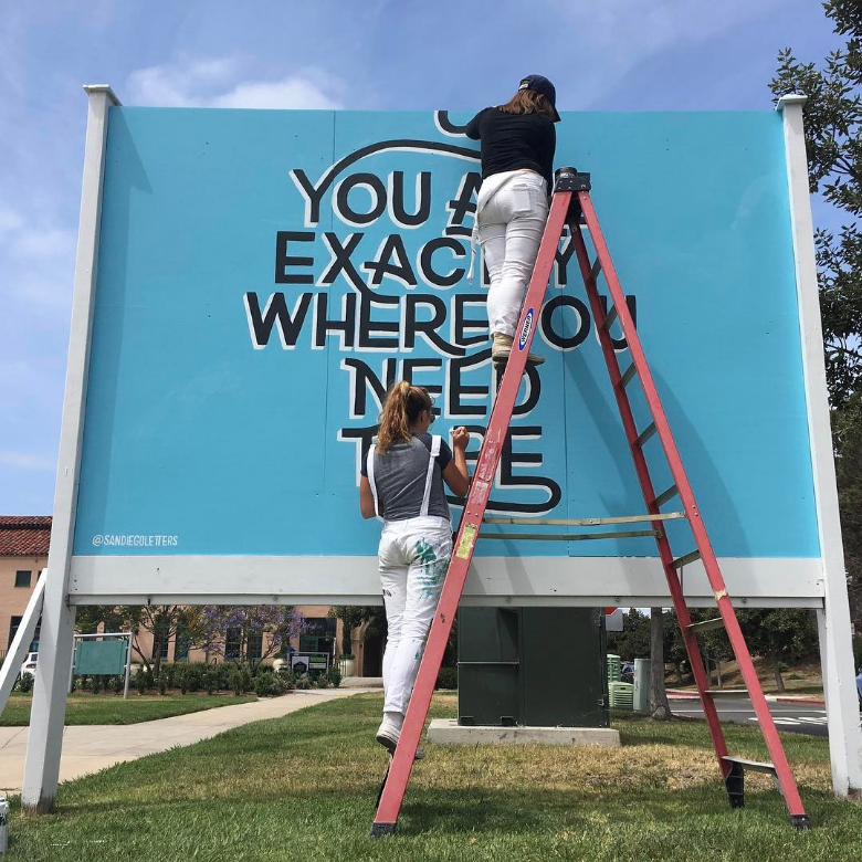 teamwork, roxy and phoebe, pandr, blue mural, type