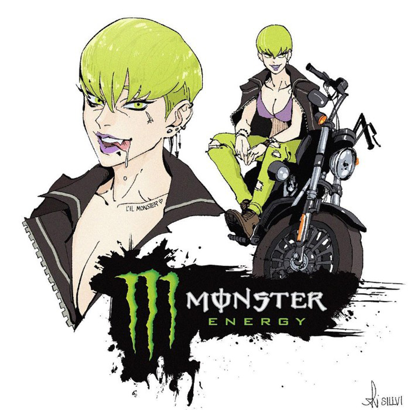 Illustrations of monster energy drink with Monster character