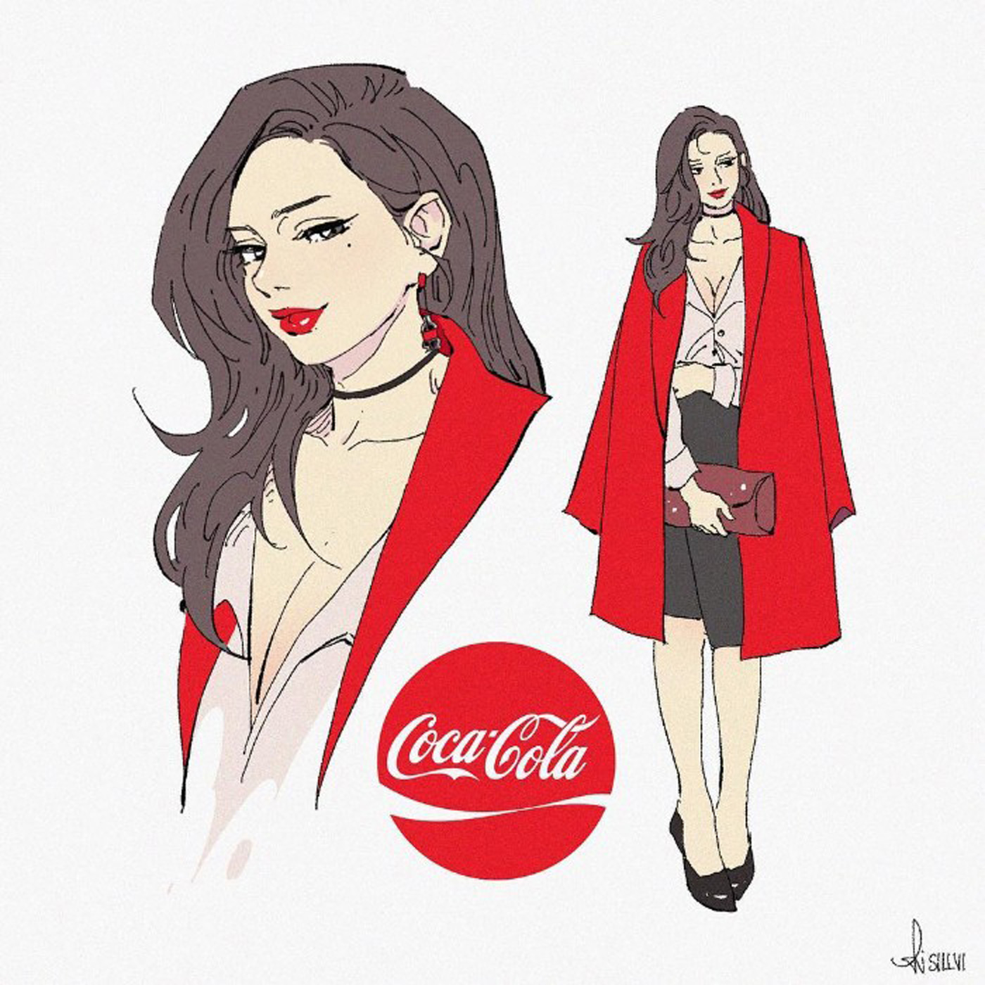 Illustrations of coca-cola brand soft drinks soda with female characters