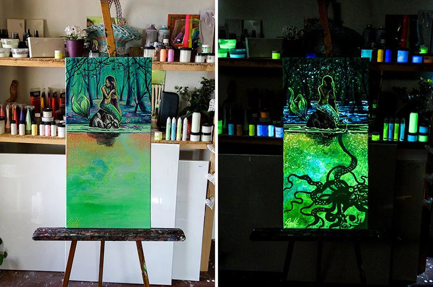 Glow In The Dark Paintings Of From The Deep
