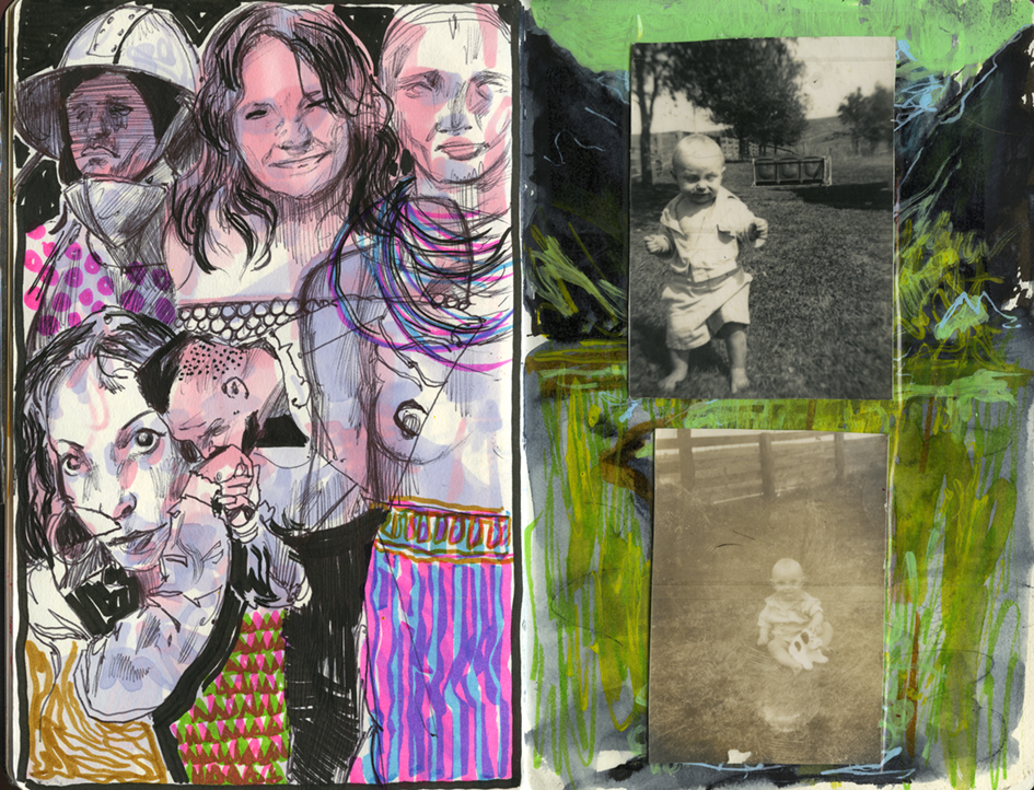 pink people drawing, family photo album, photo and drawing collage, layered sketch