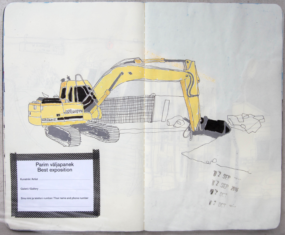 construction drawing, yellow, claw machine