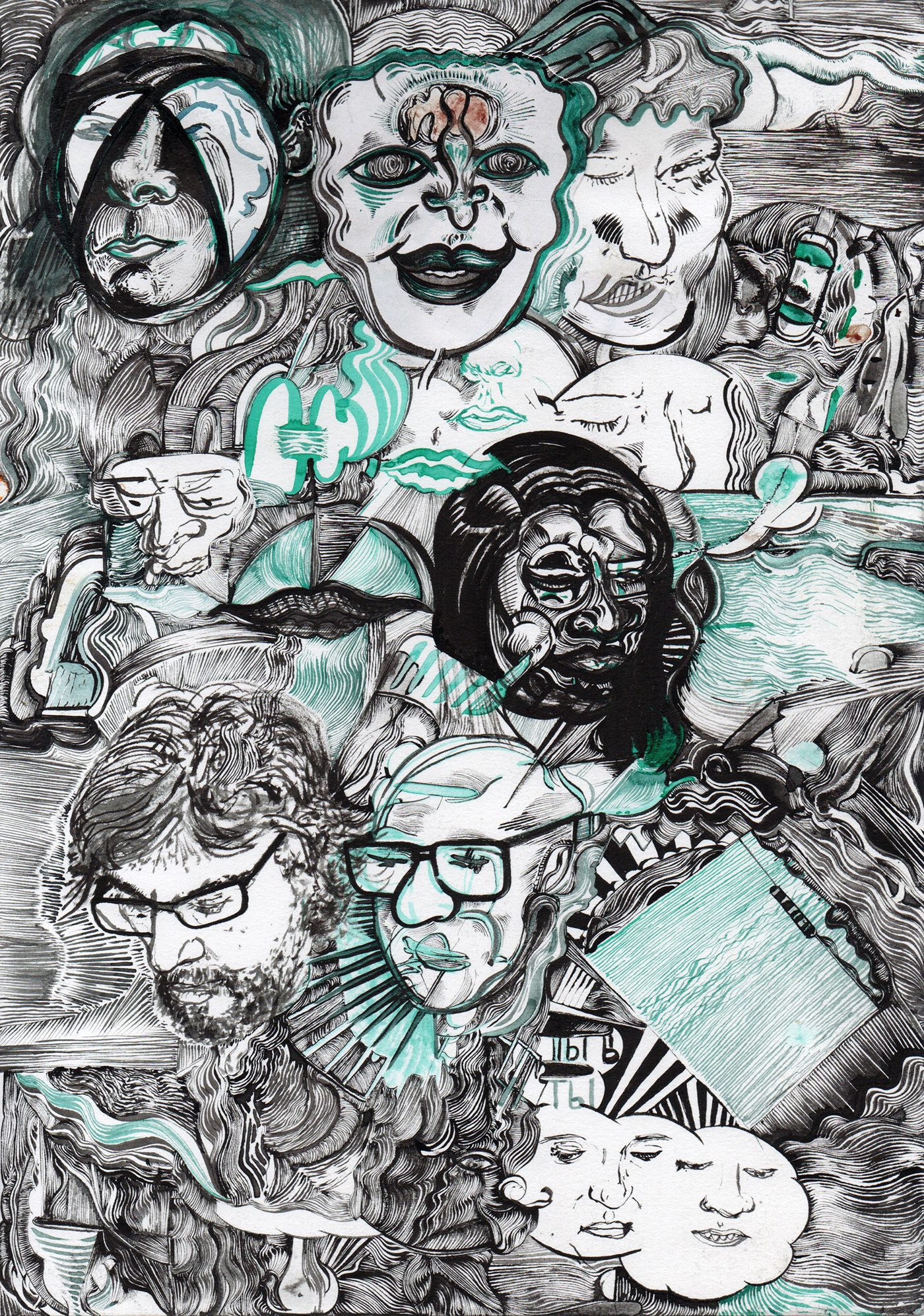 faces, ink drawing, sea of faces, black and teal