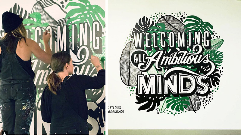 ambitious, minds, lettering, welcome, floral, plants, tropical, green mural