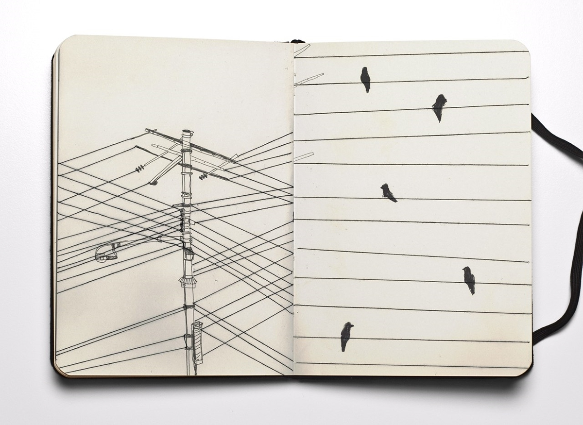 powerlines, electricity, sketch, doodle