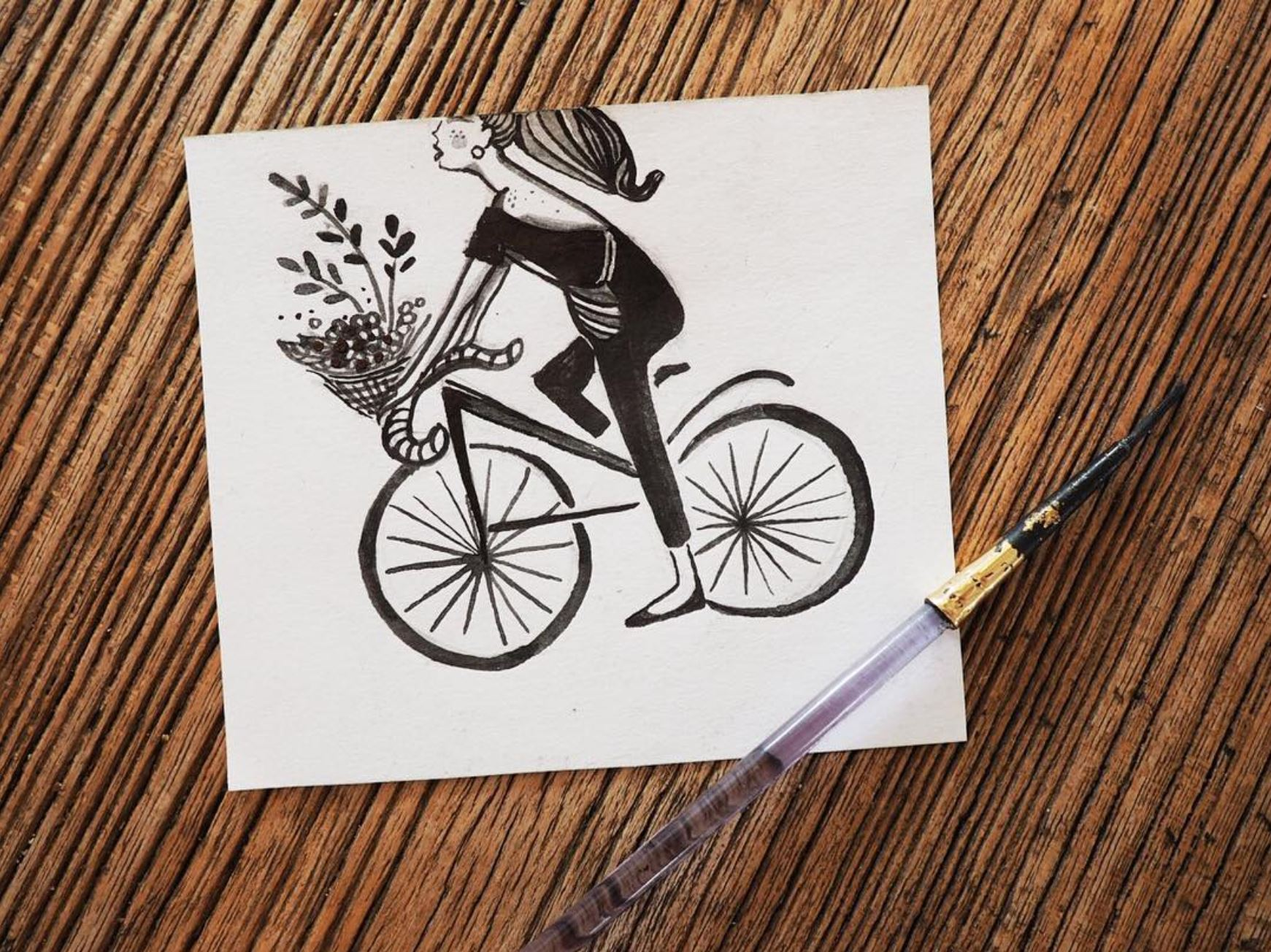 simple illustration, bike, bicycle, black and white