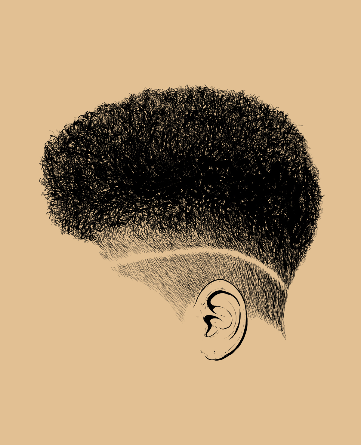 drawing hair, illustration, digital art