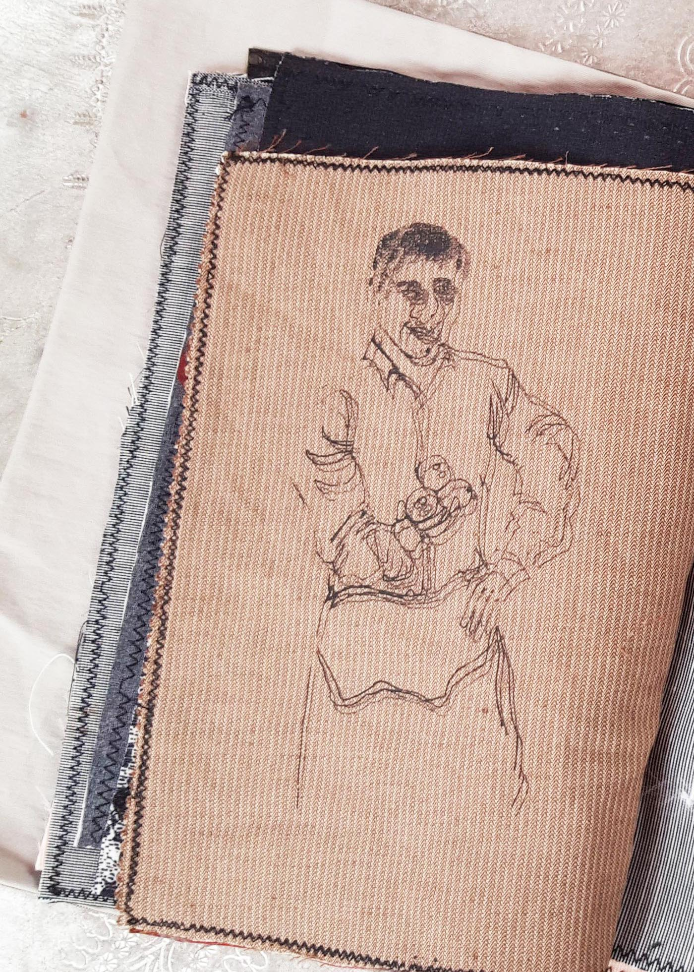 portait drawing, textured doodle, fabric swatches