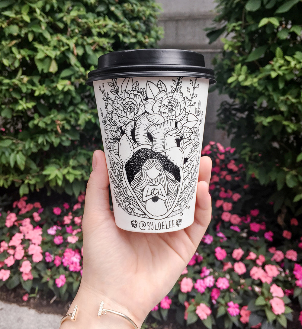 Paper coffee cup drawings