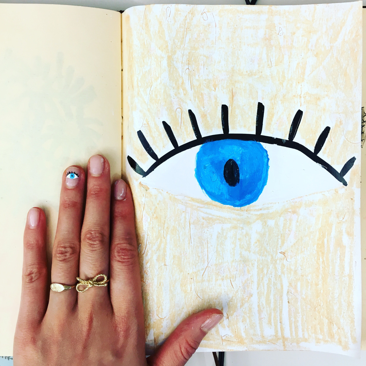 sketchbook with nail art