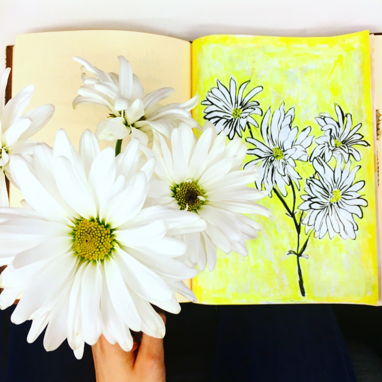 sketchbook with flowers