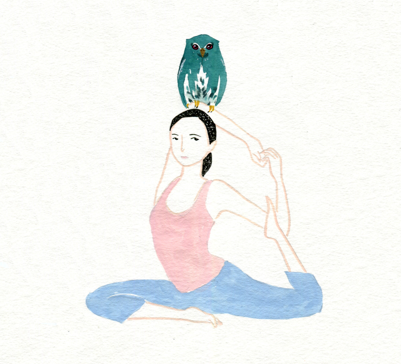 hand drawn yoga pose with owl