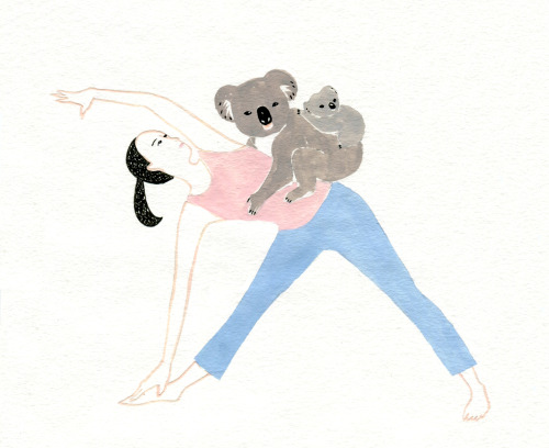 hand drawn yoga pose with koala