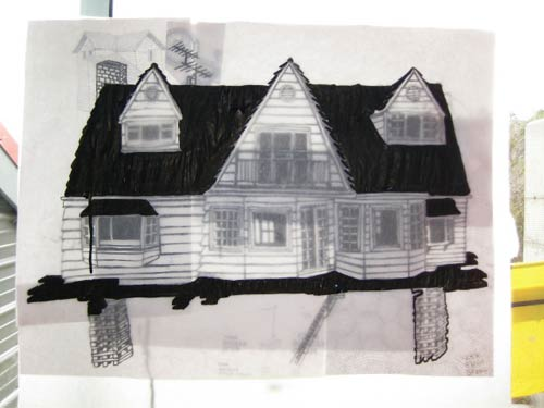 black and white house doodle process