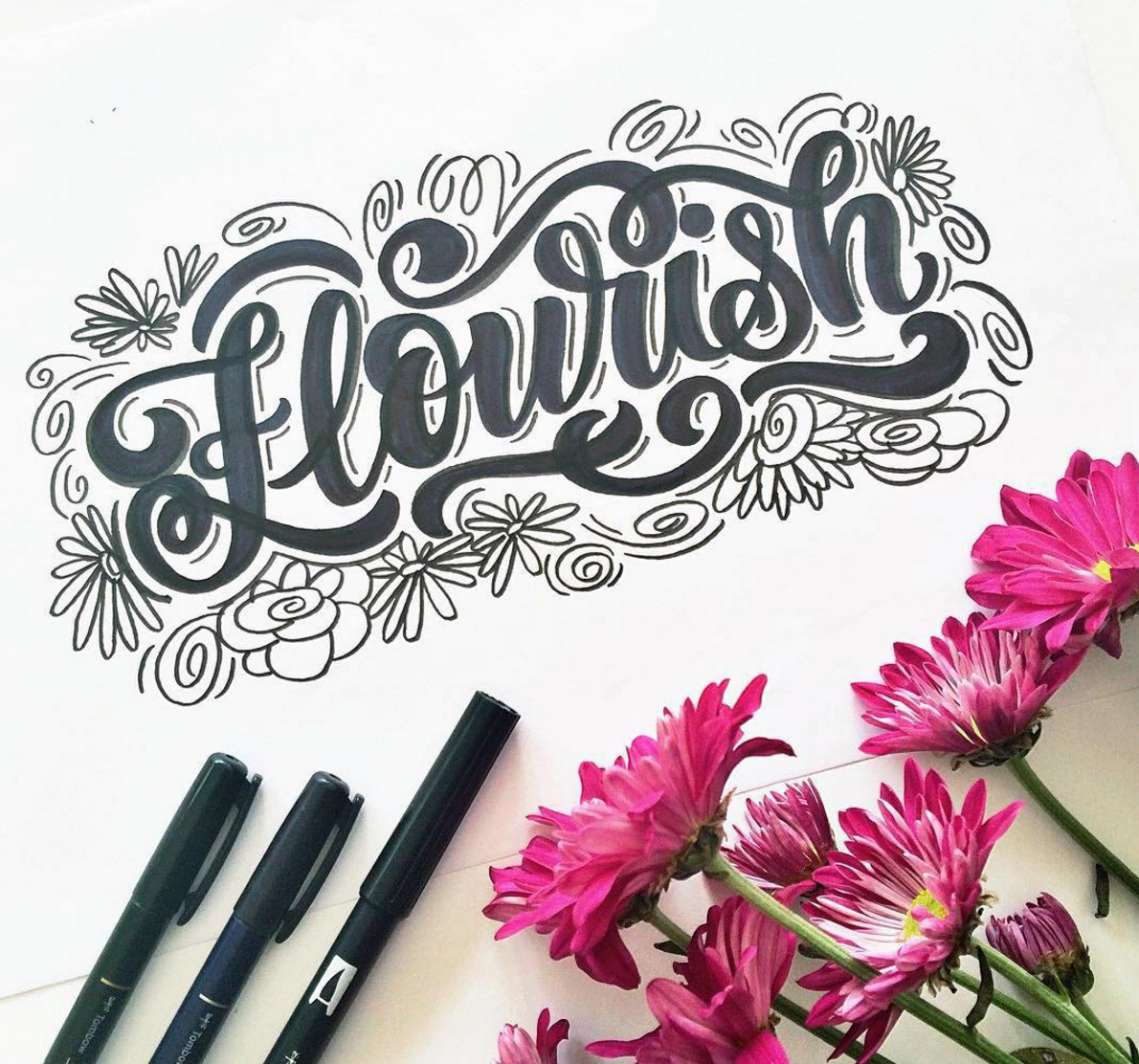 insprational calligraphy sketchbook flowers