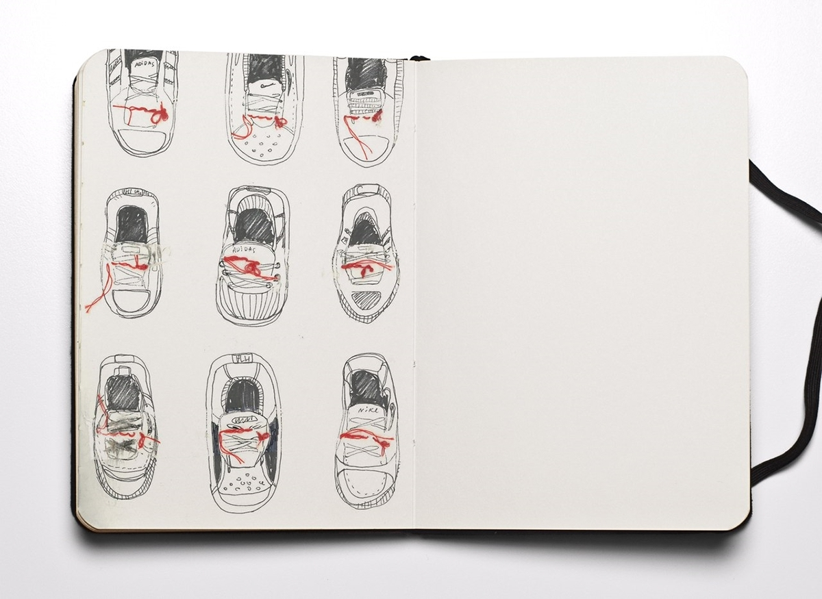 shoes, laces, thread, sketch, illustrate