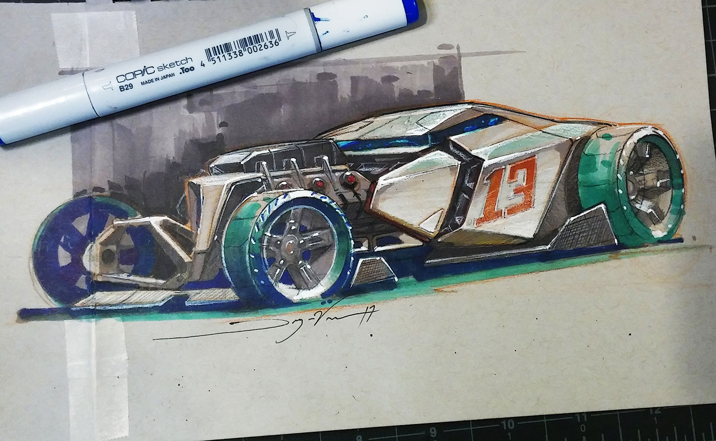 Futuristic car drawing