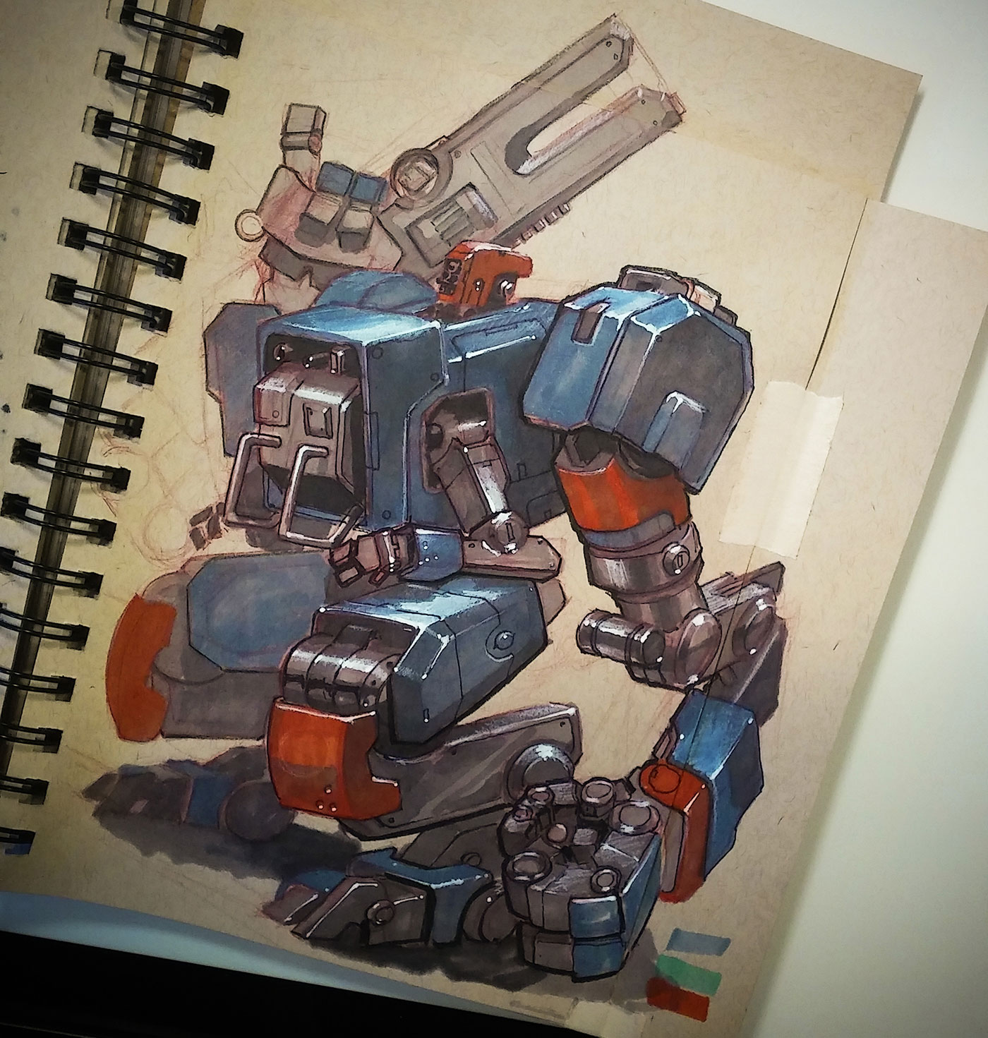 Japanese-style mech drawing