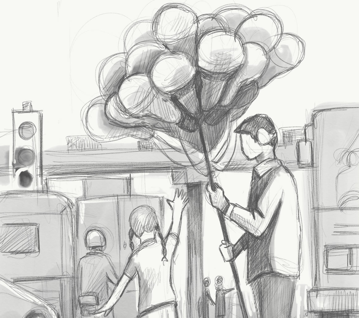 Sketch of a man holding a bunch of balloons