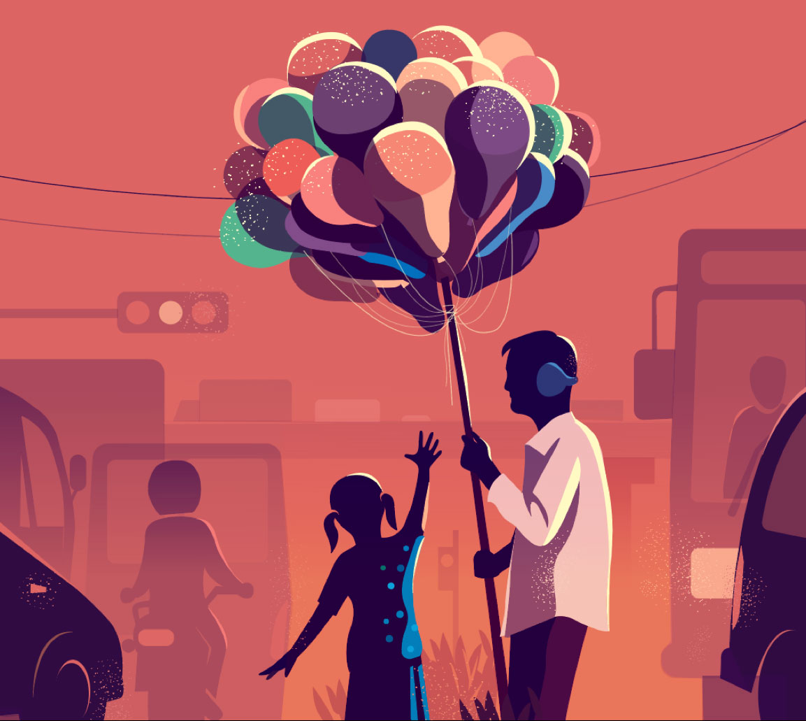 Illustration of a man holding a bunch of balloons