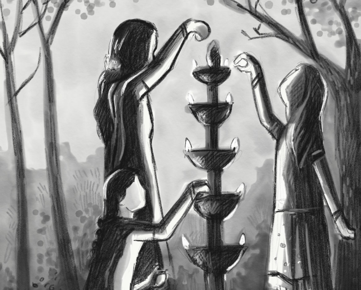 Sketch of people lighting candles