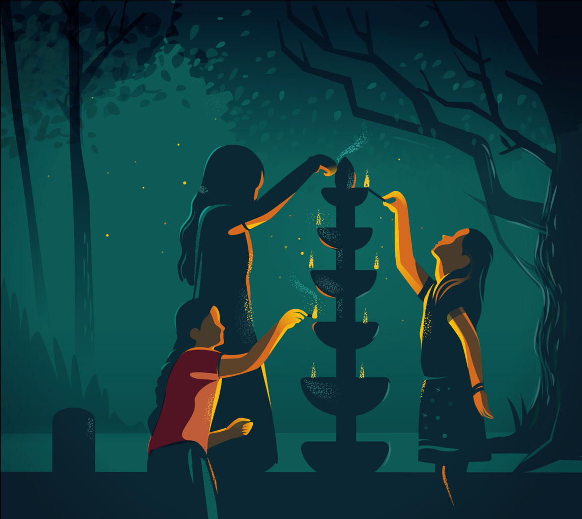 Illustration of people lighting candles