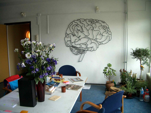 Brain drawing on a wall