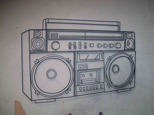 Boombox drawing on a wall