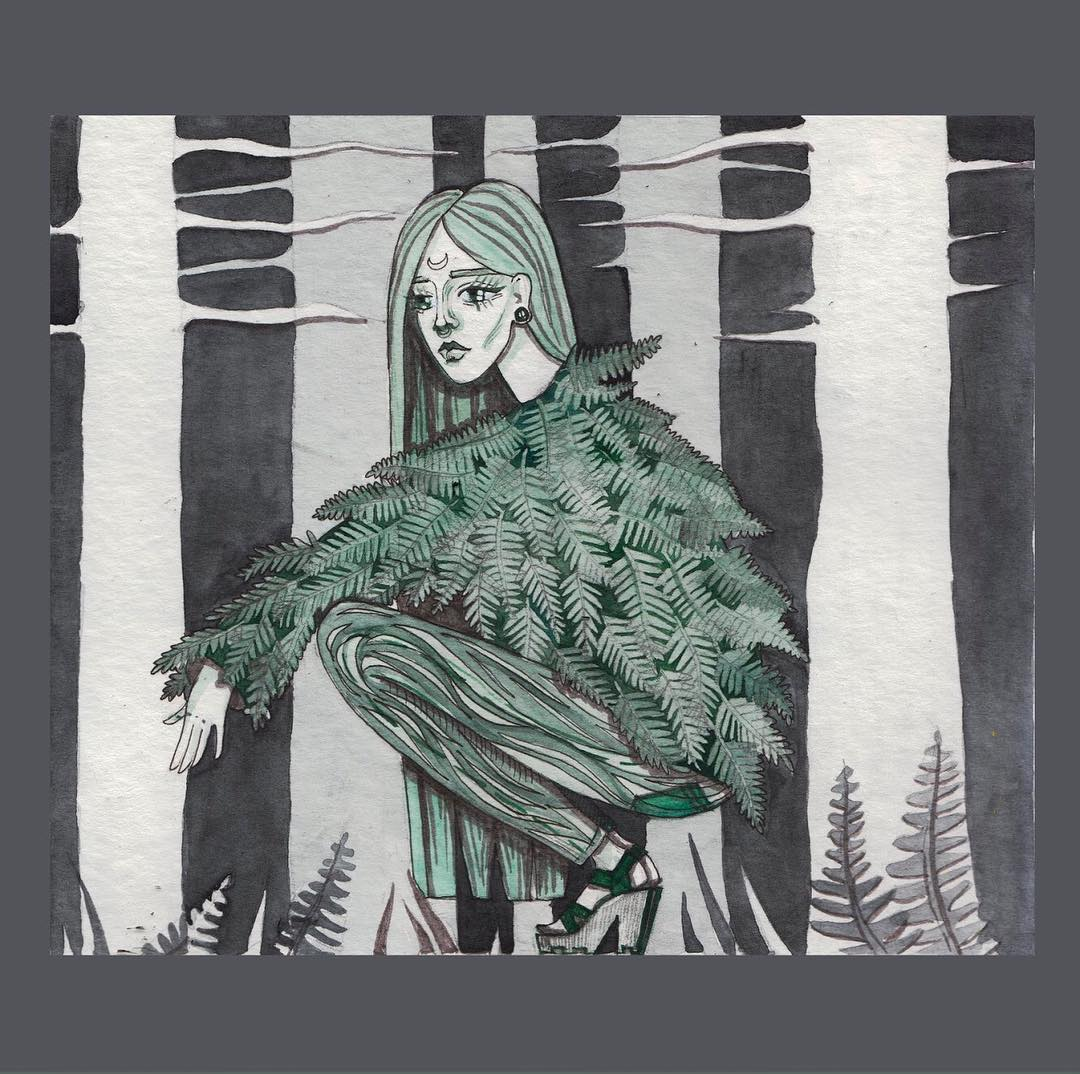 Drawing of a woman in the forest