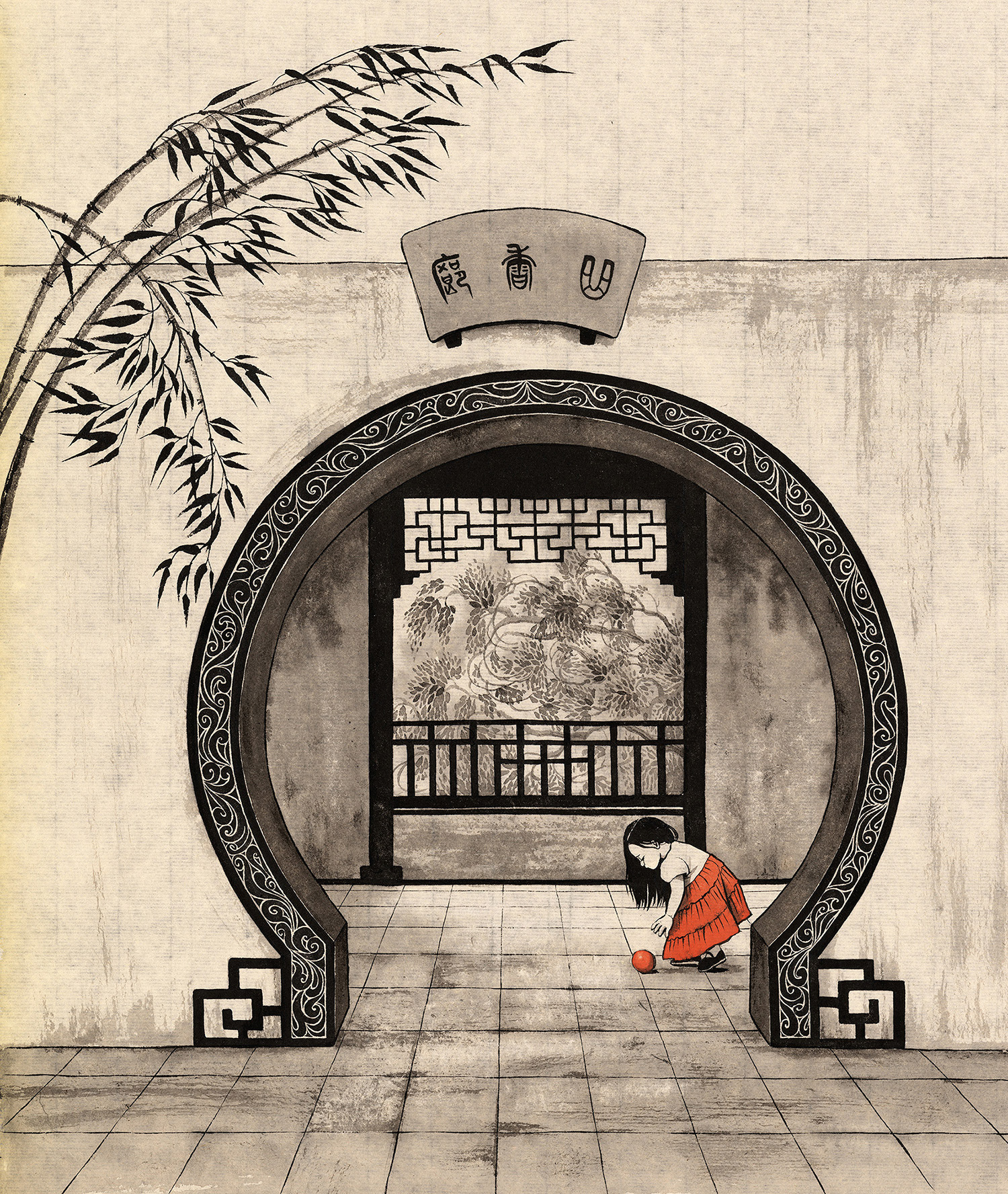 Painting of Chinese girl inside a temple