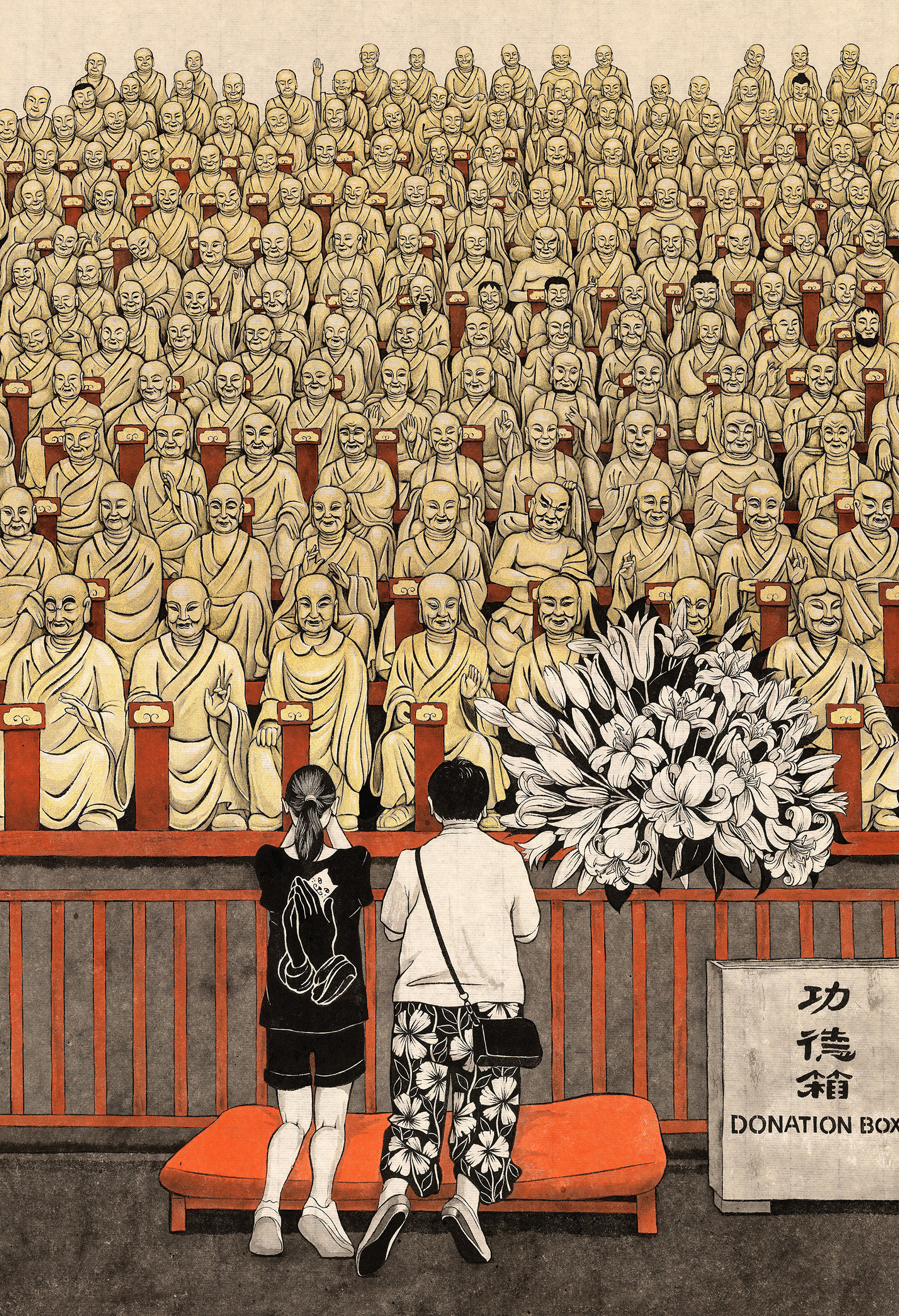 Drawing of many buddhists