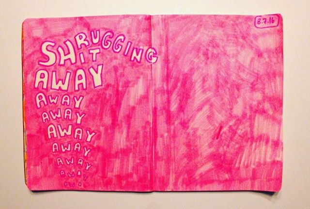 Pink Drawings and Sketchbook