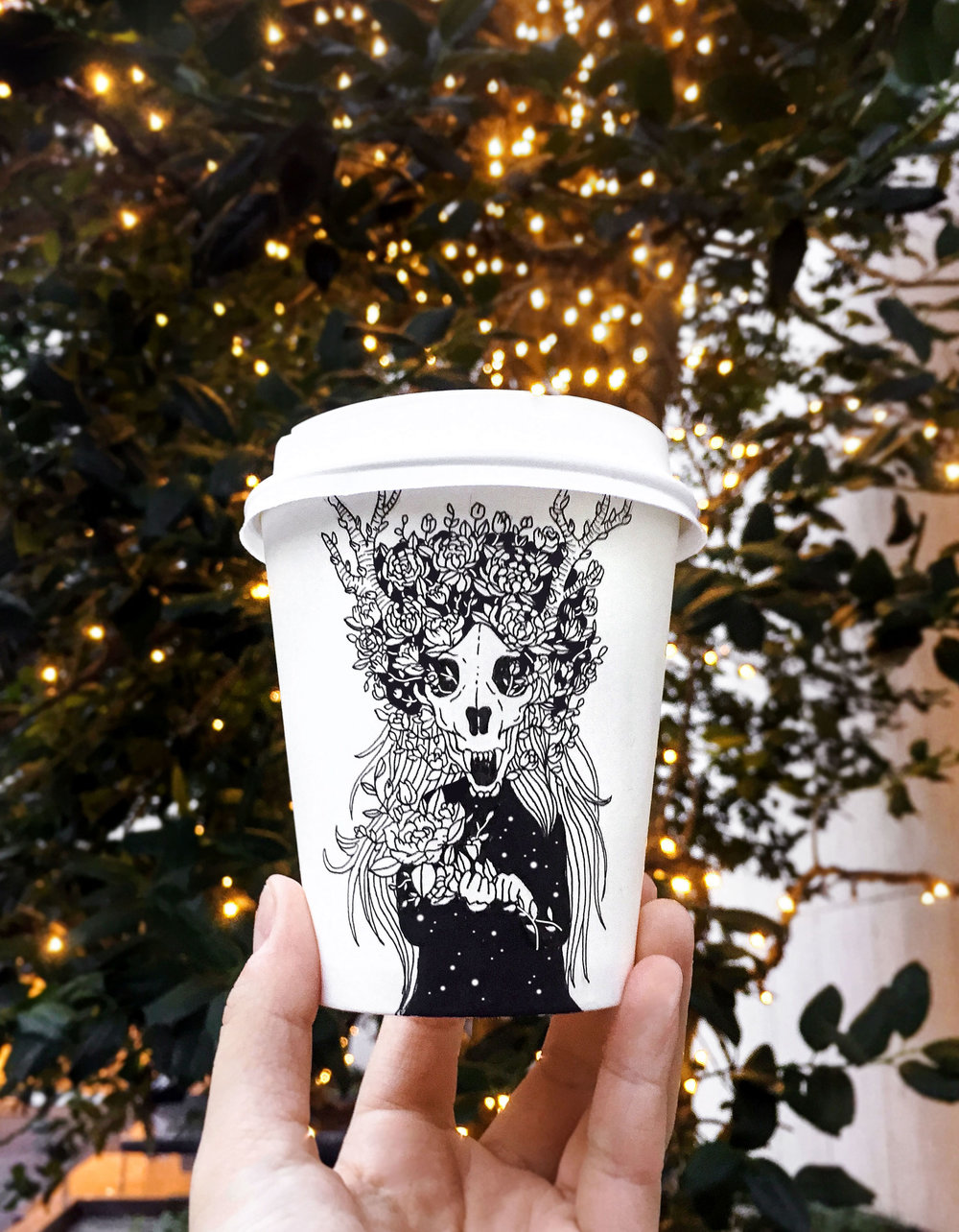 Drawing on a coffee cup