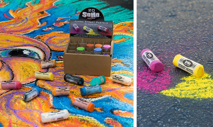 giant sidewalk chalk, better quality sidewalk chalk, sidewalk pastel, street art tools