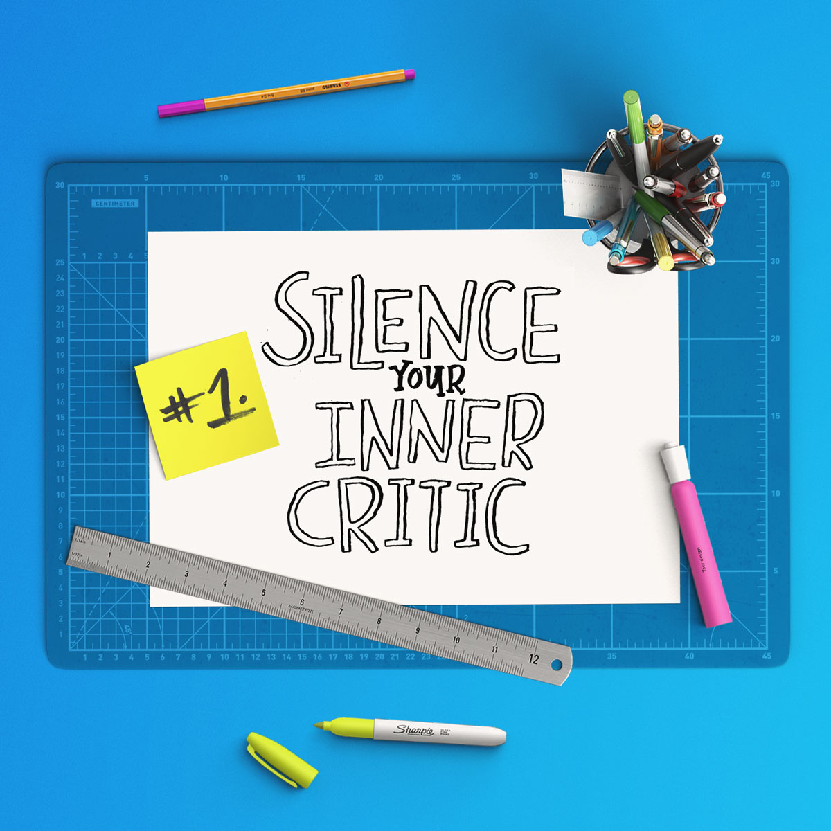 silence your inner critic, overcoming blank page, blank sketchbook