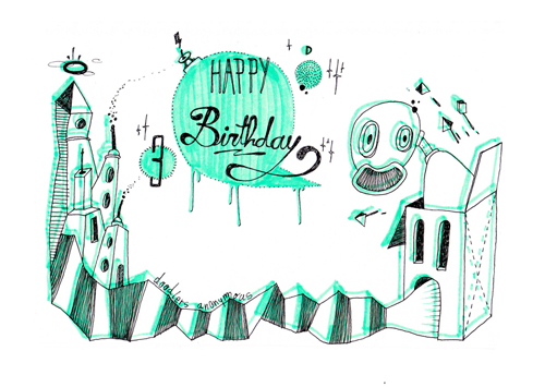 over  handdrawn birthday cards  doodlers anonymous, Birthday card