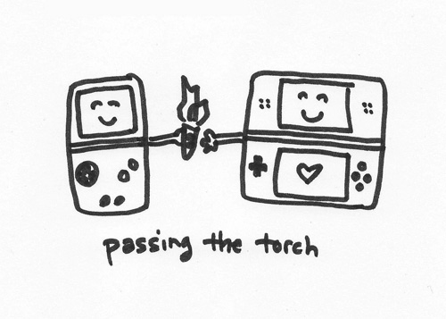 Passing the Torch Doodle Gameboy Doodle