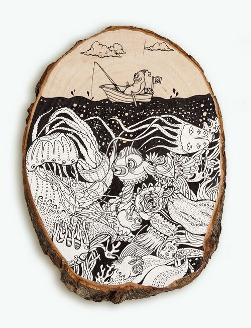 Intricate Drawings on Wood | Doodlers Anonymous