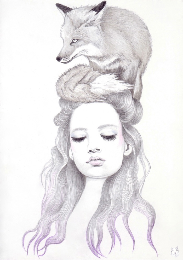 drawn girl with fox on her head