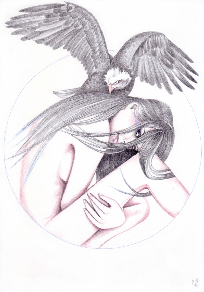 drawn girl with eagle