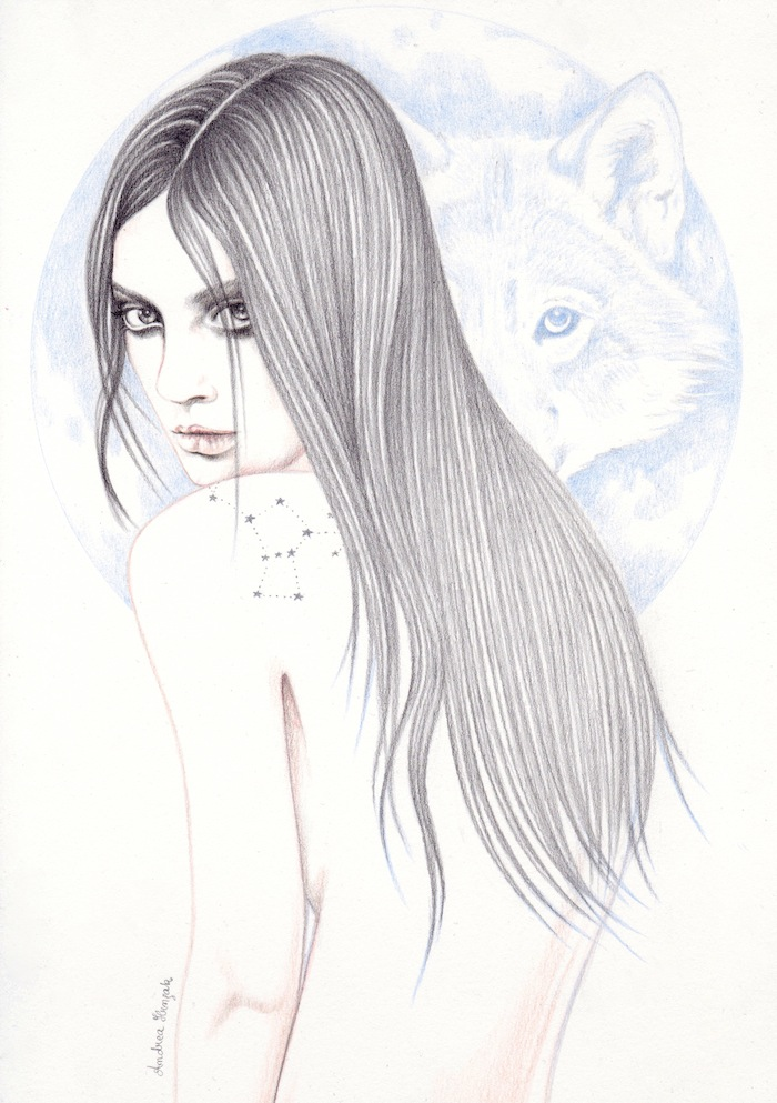 drawn girl with wolf