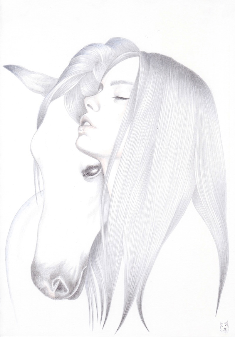 drawn girl with horse