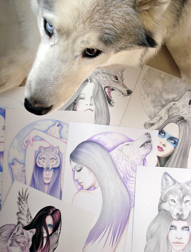 siberian husky and pencil drawings
