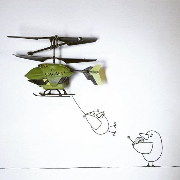 helicopter bird doodle