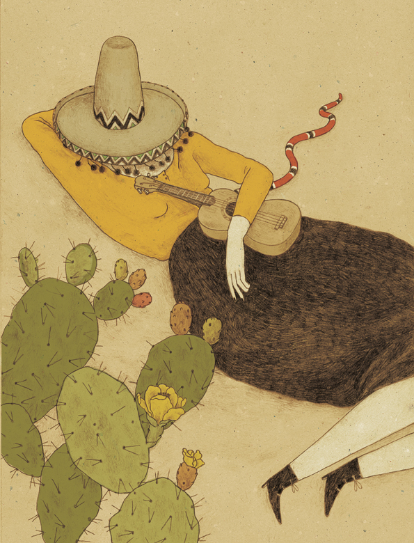 sombrero and snake with cactus