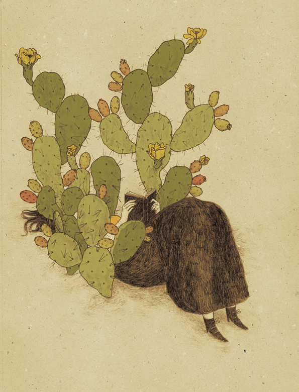 girl reading in cactus