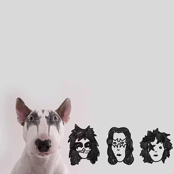 kiss doodle with bull terrier dog